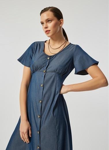 Monamoda Kolları Volanlı Soft Tuşe Tencel Denim Elbise İndigo